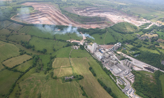 The entire Cauldon site at a glance, with the plant's main limestone quarry seen at the top left.