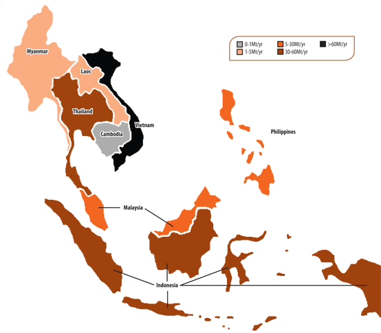 Figure 1:  Integrated cement plants and those planned, under construction or closed in the ASEAN countries in 2015. Countries colour-coded by cement production capacity