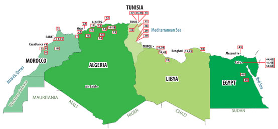 Map of cement plants in North Africa