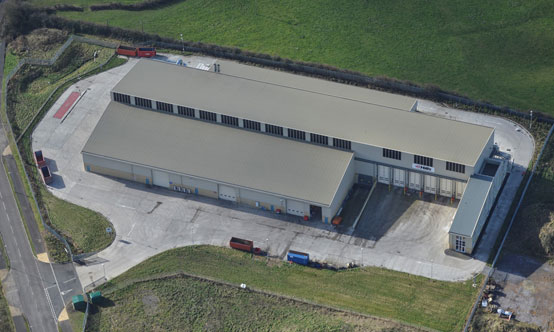 Aerial image of a typical  Entsorga MBT installation, located in Westbury, Wiltshire, UK. In Europe the total MBT installed capacity by Entsorga is nearly 0.6Mt/yr.