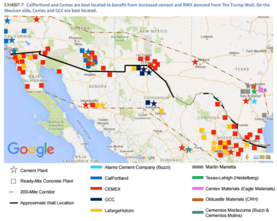 Map of cement and ready-mix concrete plants near to the US - Mexico border. Source: Bernstein Materials Blast.