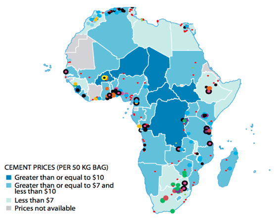 Figure 1: Distribution of cement prices in Africa and Location of Plants 2015. Source: World Bank / ECDPM.