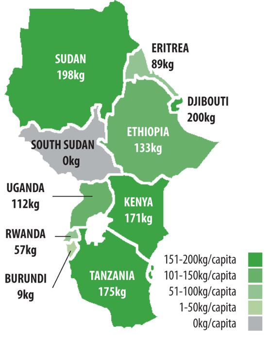 Graph 1: Cement production capacity/population of East African countries. Source: Global Cement Magazine & Global Cement Directory 2020.
